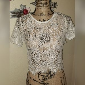 Ambiance white lace crop top M